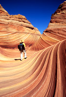 Hiker at The Wave, Coyote Buttes, Arizona  (MR# 200)